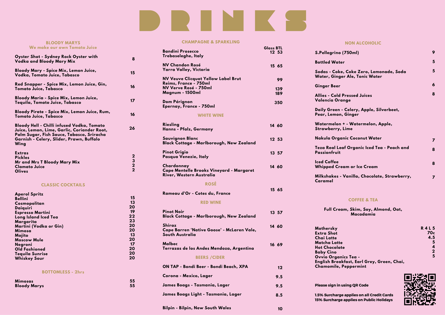 Bloody Mary's Drinks Menu